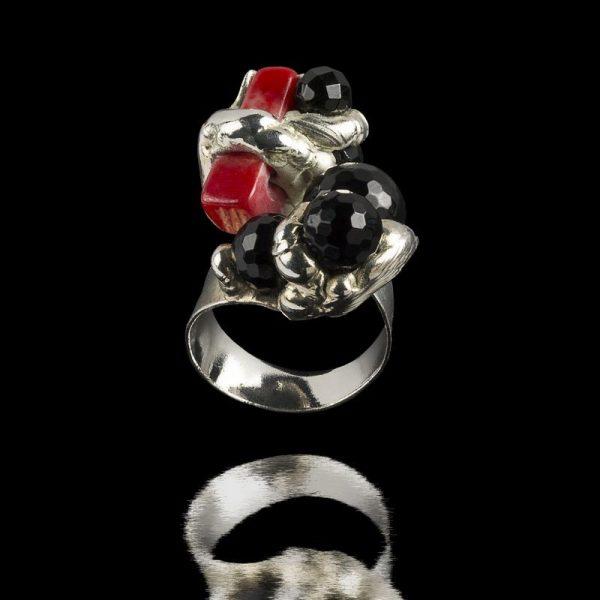 Inel Coral si Onix-bijuterie-alina-bancila