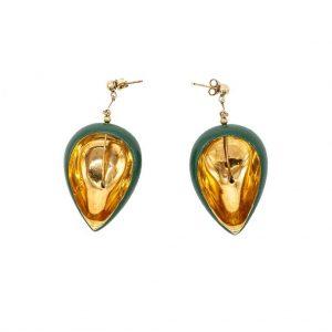 Short green leaf earrings-jewelry-raluca-buzura