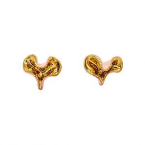 Wavy pink earrings with rod-jewelry-raluca-buzura