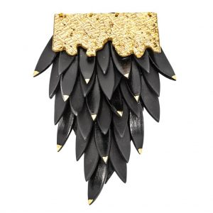Black brooch with leaves-jewelry-raluca-buzura