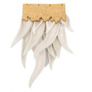 White brooch with leaves-jewelry-raluca-buzura