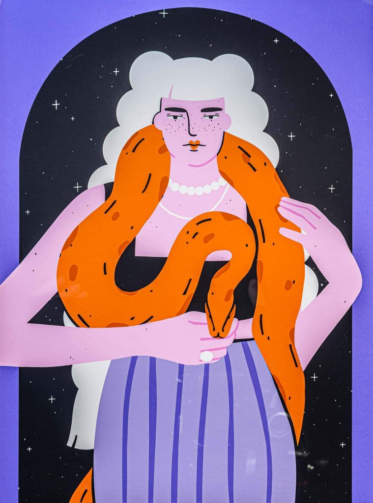 Women with snake-illustration-and-caricature-