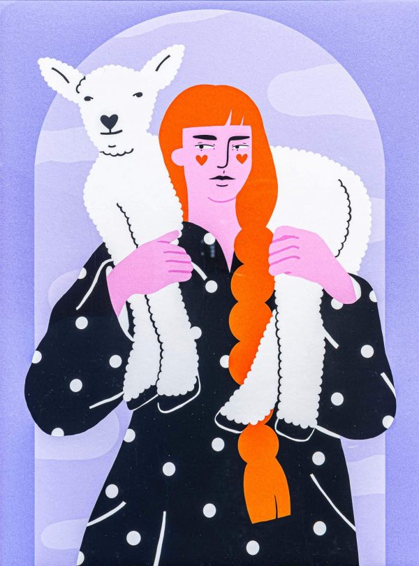 Women with lamb-illustration-and-caricature-