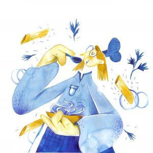 Pasta time/Quarantine Pleasures-illustration-and-caricature-